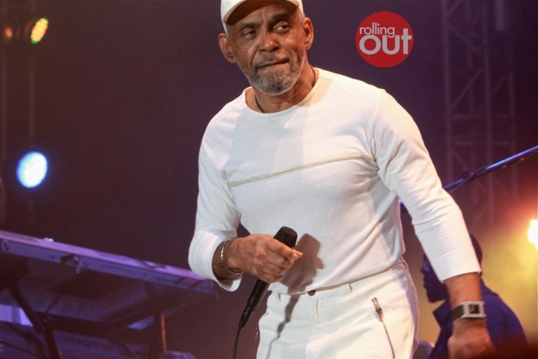 You never heard of Frankie Beverly getting into trouble, have you? White. Outfit.